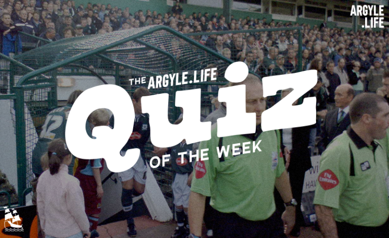 """""""The Argyle Life quiz of the week"""" written over an image of Plymouth Argyle exiting the tunnel from the old Mayflower stand."""